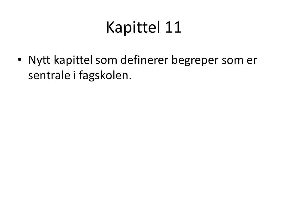 Kapittel 11 Nytt kapittel som definerer begreper som er sentrale i fagskolen.