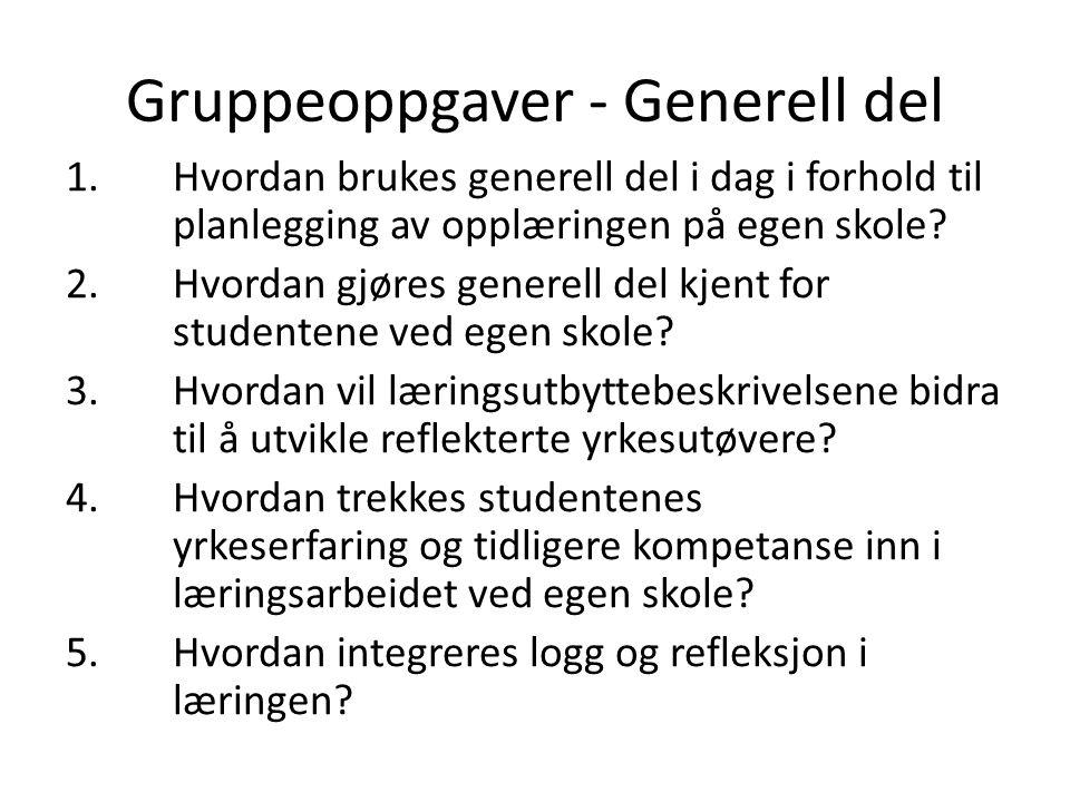 Gruppeoppgaver - Generell del 1.