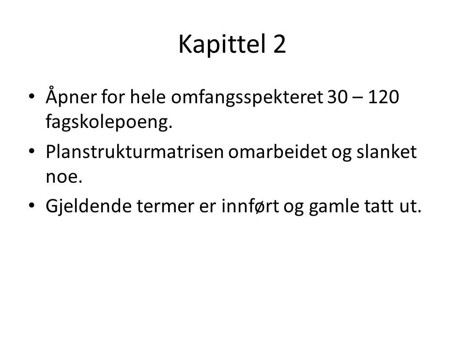 Kapittel 2 Åpner for hele omfangsspekteret 30 – 120 fagskolepoeng.