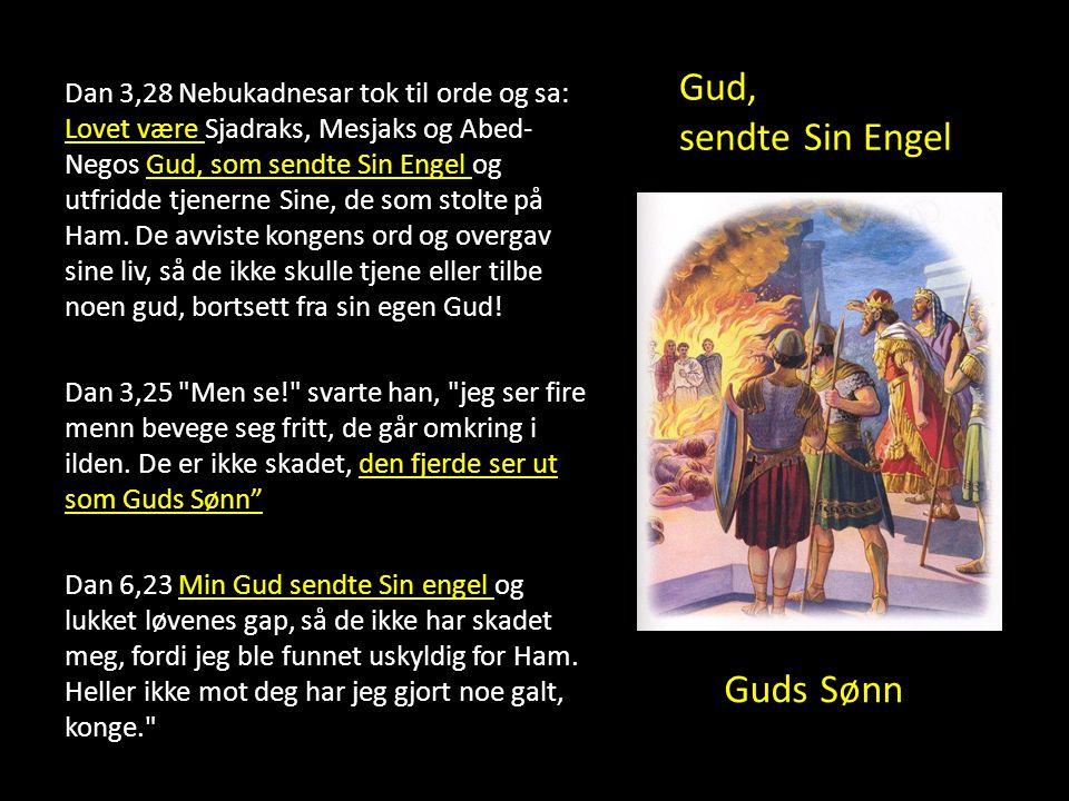 Guds Sønn Dan 3,28 Nebukadnesar tok til orde og sa: Lovet være Sjadraks, Mesjaks og Abed- Negos Gud, som sendte Sin Engel og utfridde tjenerne Sine, d