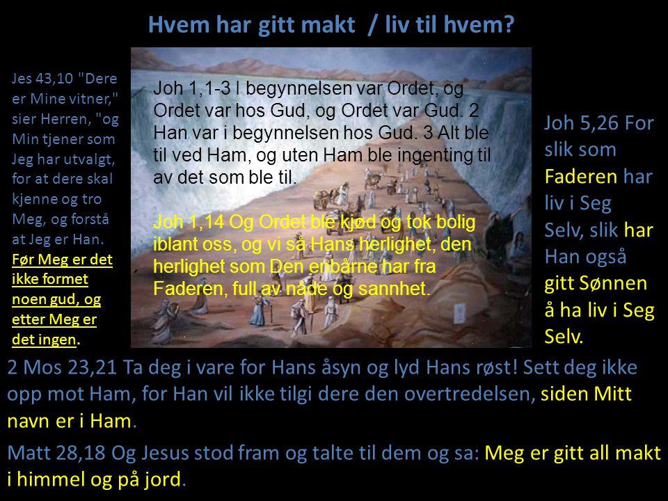 Hvem har gitt makt / liv til hvem? 2 Mos 23,21 Ta deg i vare for Hans åsyn og lyd Hans røst! Sett deg ikke opp mot Ham, for Han vil ikke tilgi dere de