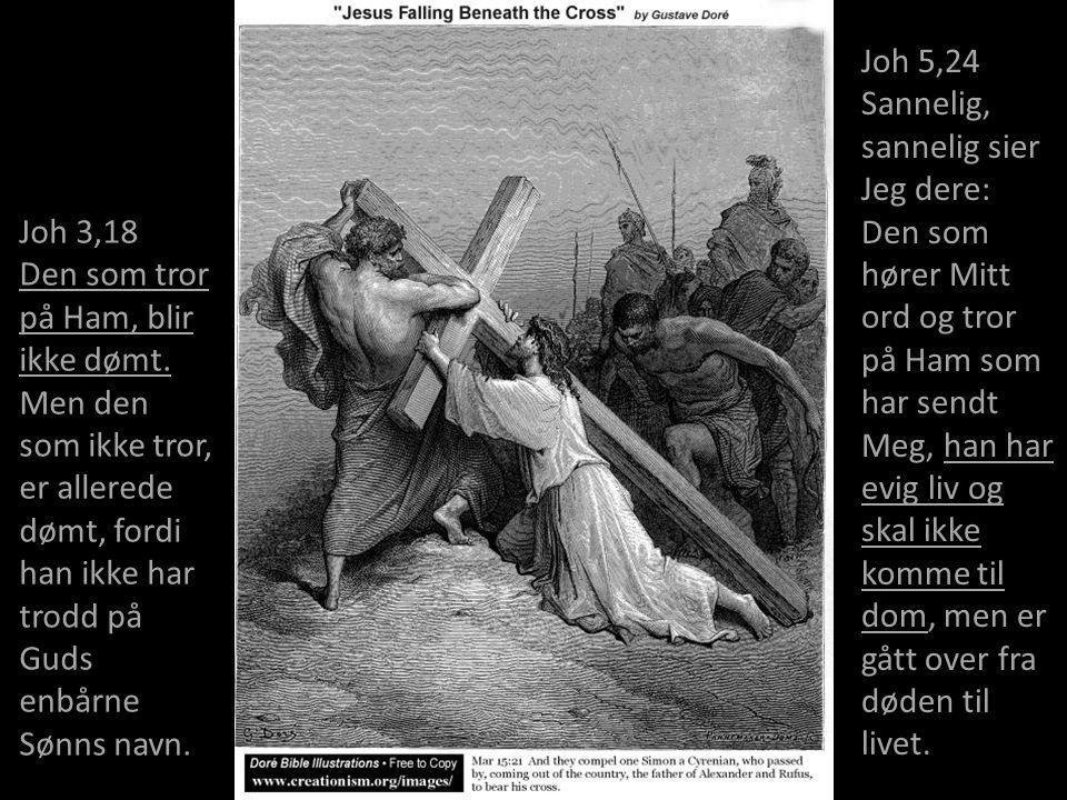 Joh 3,18 Den som tror på Ham, blir ikke dømt. Men den som ikke tror, er allerede dømt, fordi han ikke har trodd på Guds enbårne Sønns navn. Joh 5,24 S