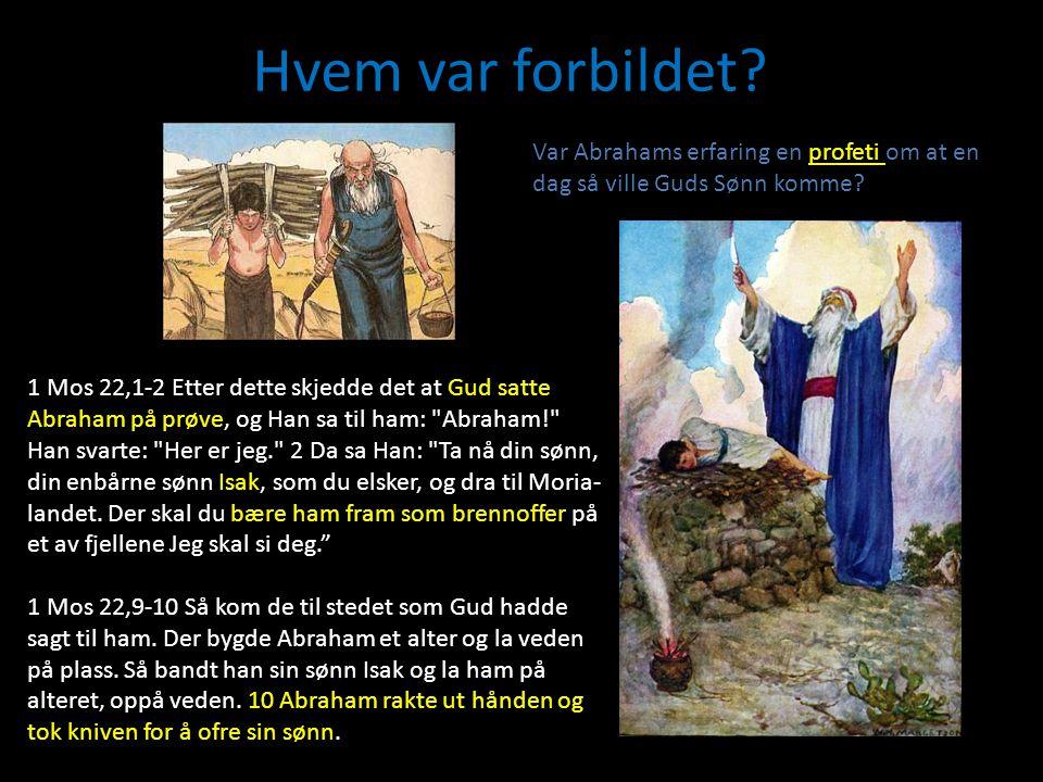 Hvem var forbildet? Var Abrahams erfaring en profeti om at en dag så ville Guds Sønn komme? 1 Mos 22,1-2 Etter dette skjedde det at Gud satte Abraham