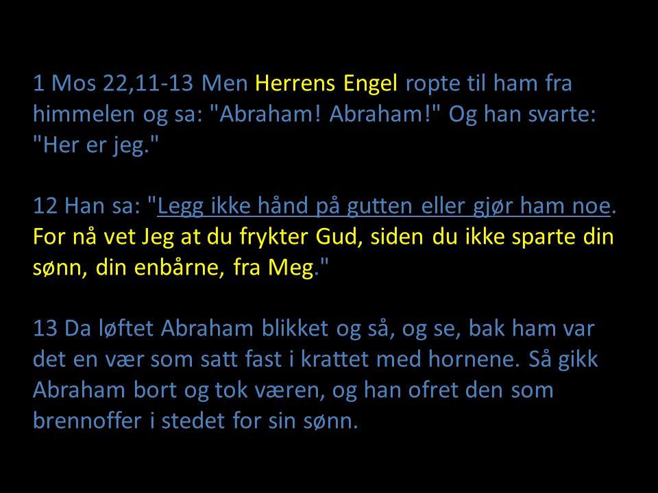 1 Mos 22,11-13 Men Herrens Engel ropte til ham fra himmelen og sa: