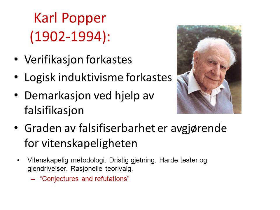 Karl Popper (1902-1994): Verifikasjon forkastes Logisk induktivisme forkastes Demarkasjon ved hjelp av falsifikasjon Graden av falsifiserbarhet er avg