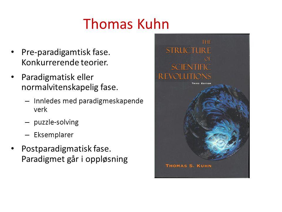 Thomas Kuhn Pre-paradigamtisk fase. Konkurrerende teorier. Paradigmatisk eller normalvitenskapelig fase. – Innledes med paradigmeskapende verk – puzzl
