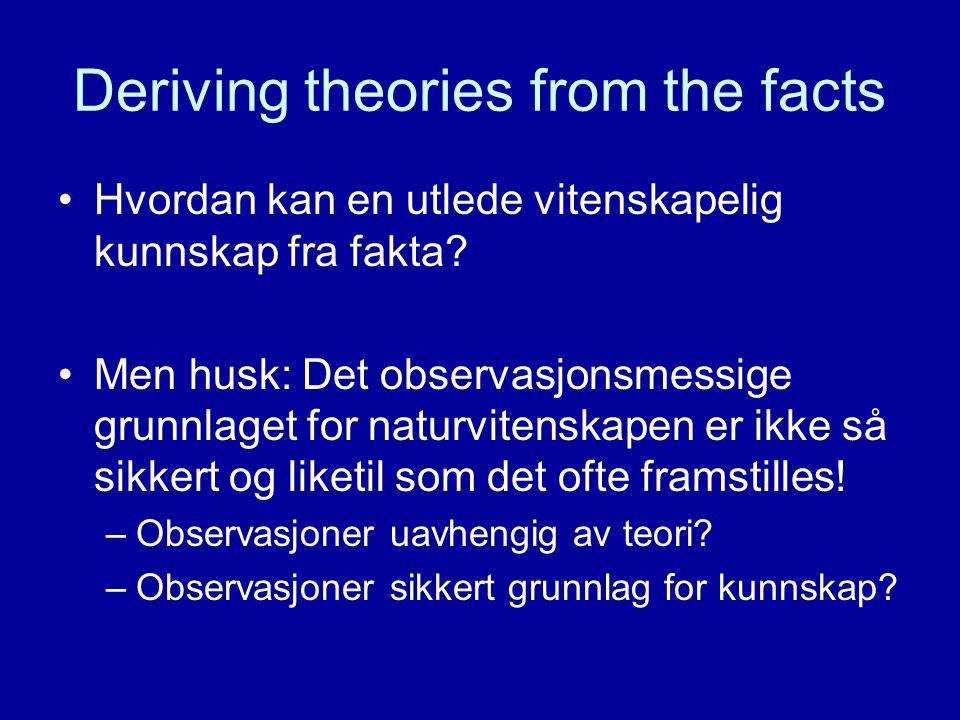Deriving theories from the facts Hvordan kan en utlede vitenskapelig kunnskap fra fakta? Men husk: Det observasjonsmessige grunnlaget for naturvitensk