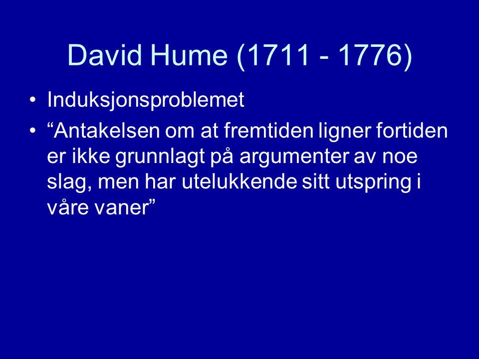 """David Hume (1711 - 1776) Induksjonsproblemet """"Antakelsen om at fremtiden ligner fortiden er ikke grunnlagt på argumenter av noe slag, men har utelukke"""