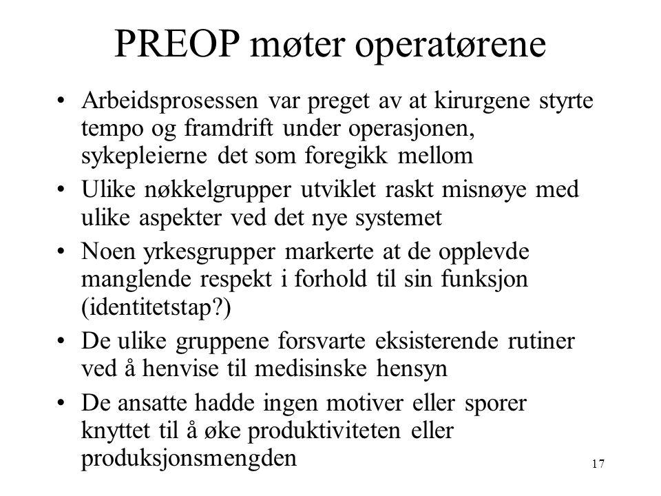 17 PREOP møter operatørene Arbeidsprosessen var preget av at kirurgene styrte tempo og framdrift under operasjonen, sykepleierne det som foregikk mell