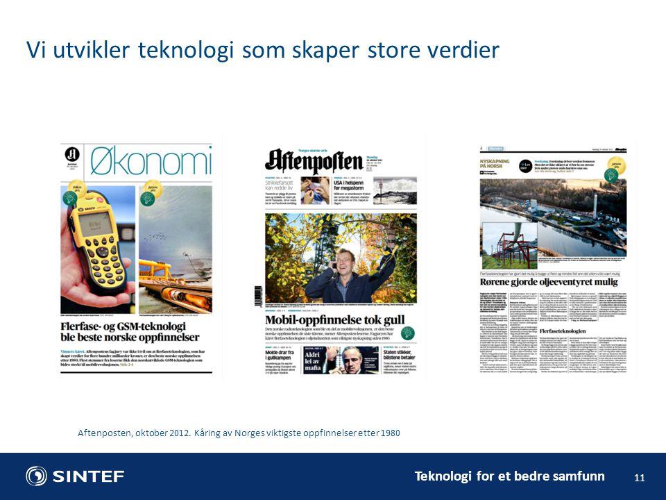 Teknologi for et bedre samfunn 11 Vi utvikler teknologi som skaper store verdier Aftenposten, oktober 2012. Kåring av Norges viktigste oppfinnelser et