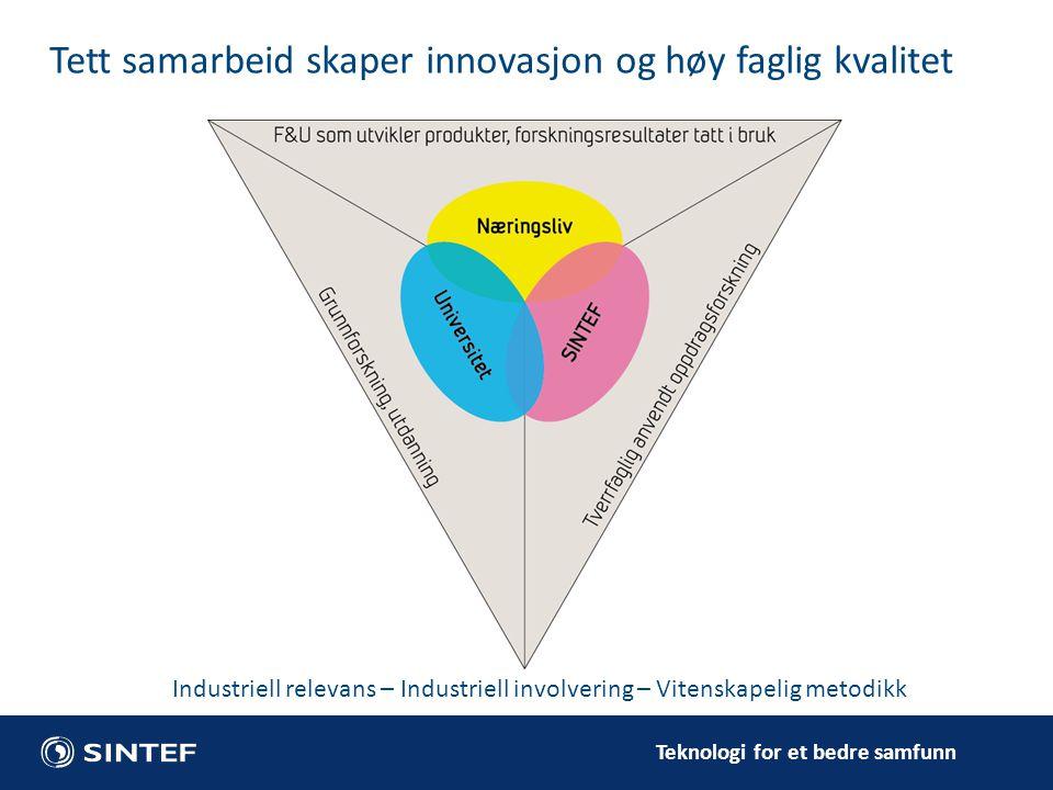 Teknologi for et bedre samfunn Tett samarbeid skaper innovasjon og høy faglig kvalitet Industriell relevans – Industriell involvering – Vitenskapelig