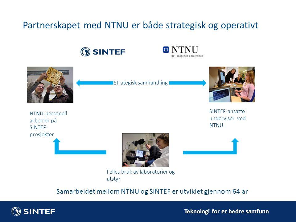 Teknologi for et bedre samfunn Partnerskapet med NTNU er både strategisk og operativt Felles bruk av laboratorier og utstyr SINTEF-ansatte underviser