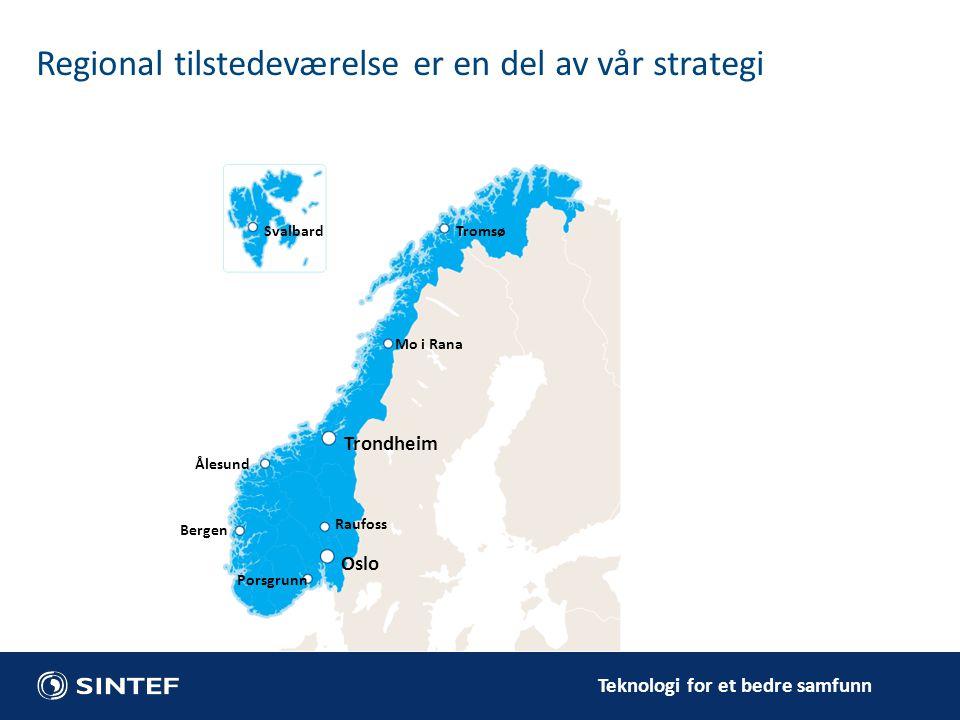 Teknologi for et bedre samfunn Tromsø Raufoss Porsgrunn Bergen Ålesund Mo i Rana Trondheim Oslo Svalbard Regional tilstedeværelse er en del av vår str