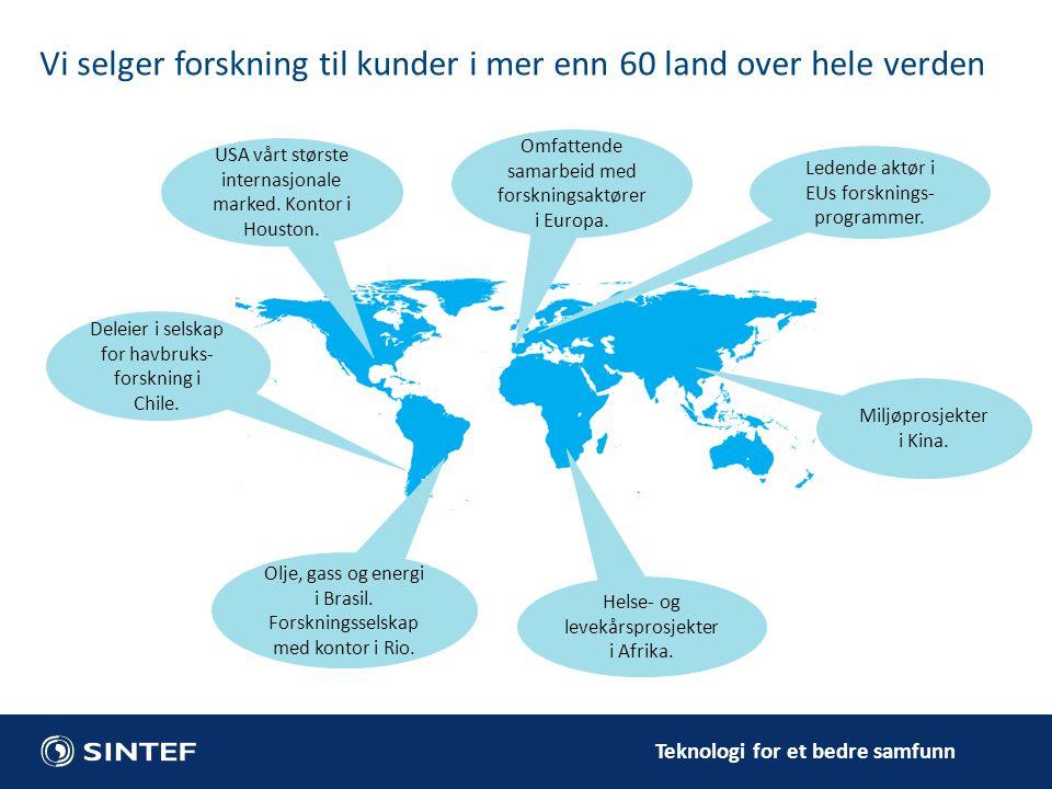 Teknologi for et bedre samfunn Vi selger forskning til kunder i mer enn 60 land over hele verden Ledende aktør i EUs forsknings- programmer. USA vårt