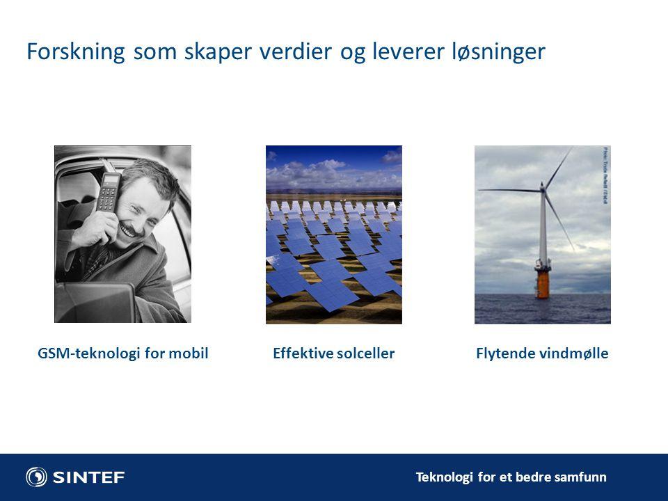Teknologi for et bedre samfunn Forskning som skaper verdier og leverer løsninger GSM-teknologi for mobilEffektive solceller Flytende vindmølle