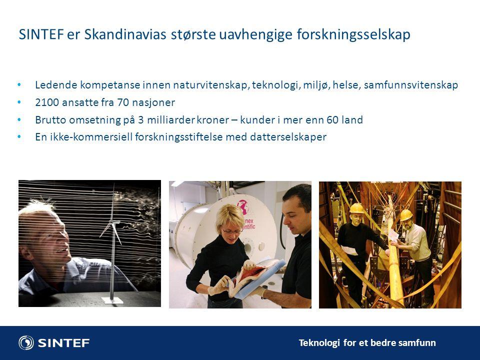 Teknologi for et bedre samfunn SINTEF er Skandinavias største uavhengige forskningsselskap Ledende kompetanse innen naturvitenskap, teknologi, miljø,
