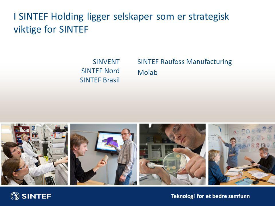 Teknologi for et bedre samfunn SINVENT SINTEF Nord SINTEF Brasil I SINTEF Holding ligger selskaper som er strategisk viktige for SINTEF SINTEF Raufoss