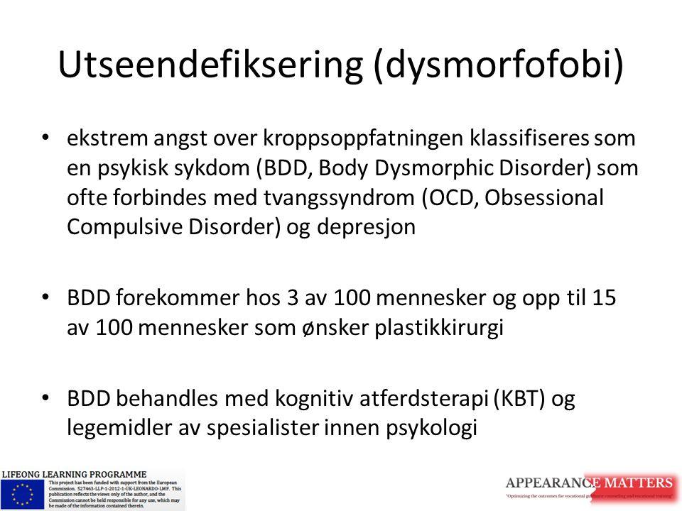 Utseendefiksering (dysmorfofobi) ekstrem angst over kroppsoppfatningen klassifiseres som en psykisk sykdom (BDD, Body Dysmorphic Disorder) som ofte fo