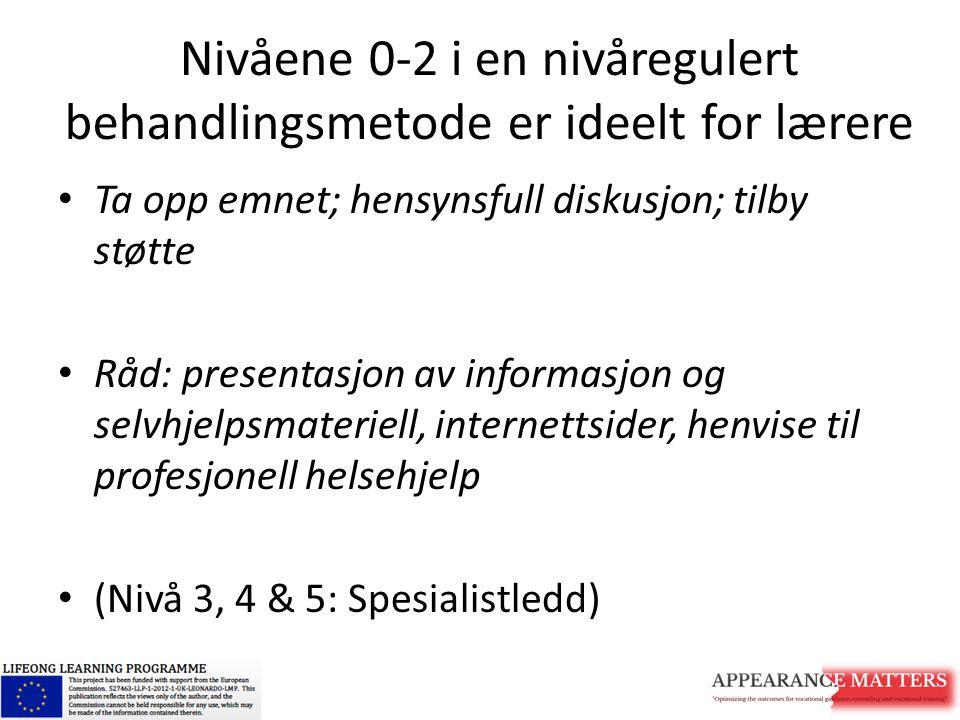 Nivåene 0-2 i en nivåregulert behandlingsmetode er ideelt for lærere Ta opp emnet; hensynsfull diskusjon; tilby støtte Råd: presentasjon av informasjo