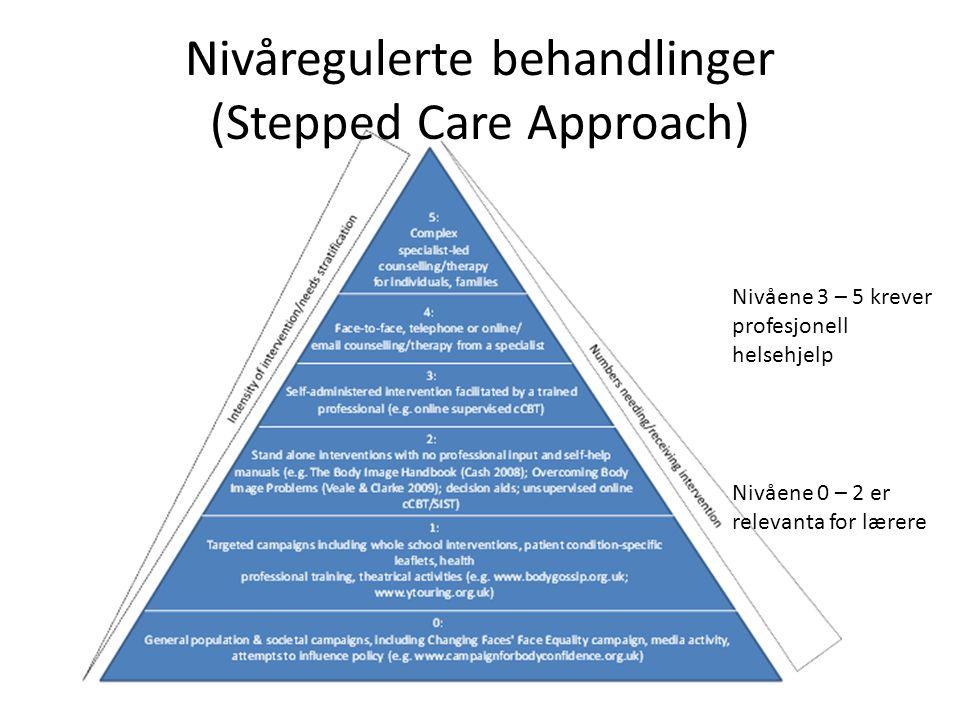 Nivåregulerte behandlinger (Stepped Care Approach) Nivåene 0 – 2 er relevanta for lærere Nivåene 3 – 5 krever profesjonell helsehjelp