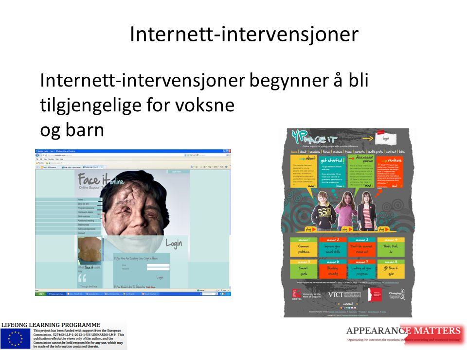 Internett-intervensjoner begynner å bli tilgjengelige for voksne og barn Internett-intervensjoner