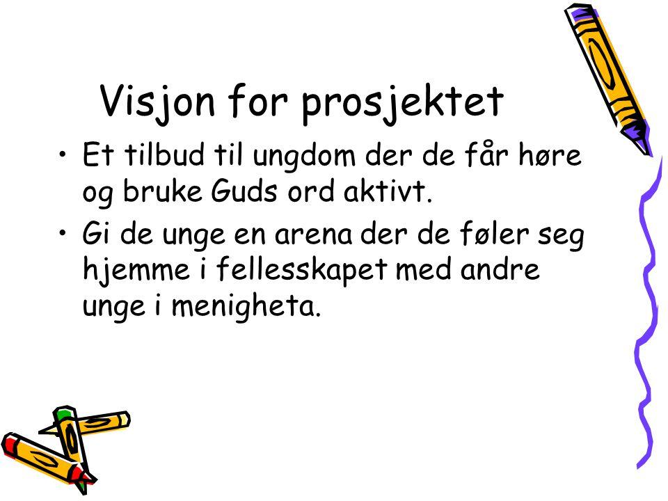 Visjon for prosjektet Et tilbud til ungdom der de får høre og bruke Guds ord aktivt.