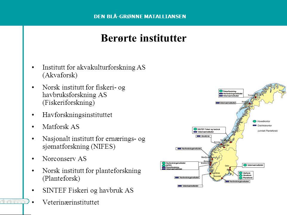 DEN BLÅ-GRØNNE MATALLIANSEN Berørte institutter Institutt for akvakulturforskning AS (Akvaforsk) Norsk institutt for fiskeri- og havbruksforskning AS (Fiskeriforskning) Havforskningsinstituttet Matforsk AS Nasjonalt institutt for ernærings- og sjømatforskning (NIFES) Norconserv AS Norsk institutt for planteforskning (Planteforsk) SINTEF Fiskeri og havbruk AS Veterinærinstituttet