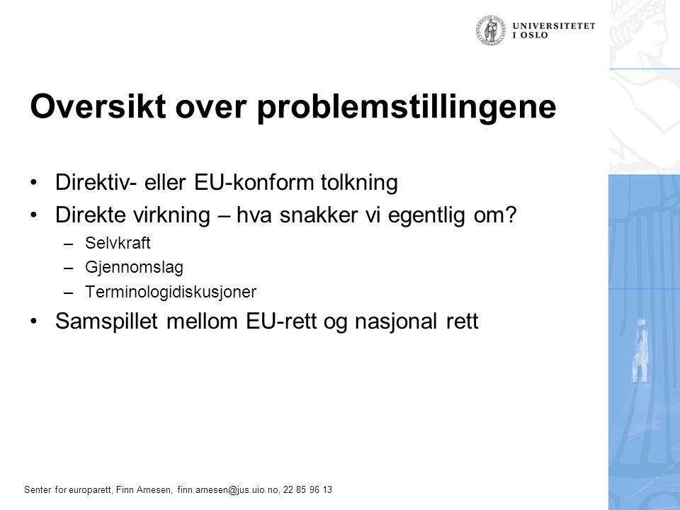 Senter for europarett, Finn Arnesen, finn.arnesen@jus.uio.no, 22 85 96 13 Oversikt over problemstillingene Direktiv- eller EU-konform tolkning Direkte