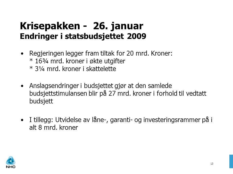 Krisepakken - 26. januar Endringer i statsbudsjettet 2009 Regjeringen legger fram tiltak for 20 mrd. Kroner: * 16¾ mrd. kroner i økte utgifter * 3¼ mr