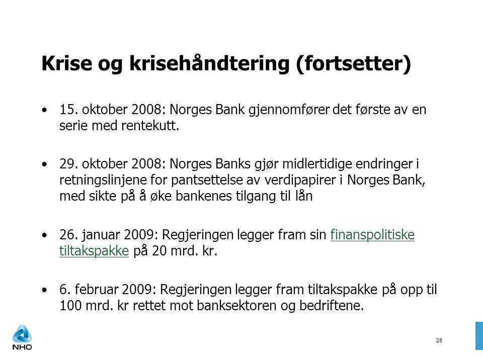 Krise og krisehåndtering (fortsetter) 15. oktober 2008: Norges Bank gjennomfører det første av en serie med rentekutt. 29. oktober 2008: Norges Banks