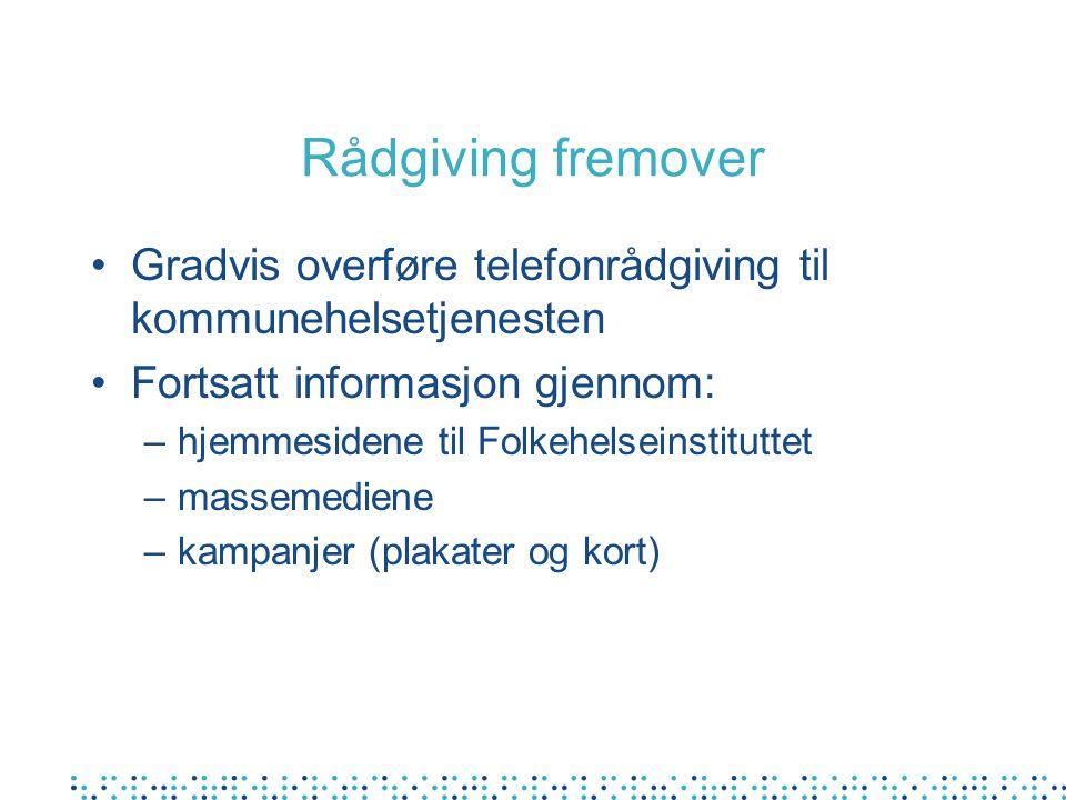 Rådgiving fremover Gradvis overføre telefonrådgiving til kommunehelsetjenesten Fortsatt informasjon gjennom: –hjemmesidene til Folkehelseinstituttet –