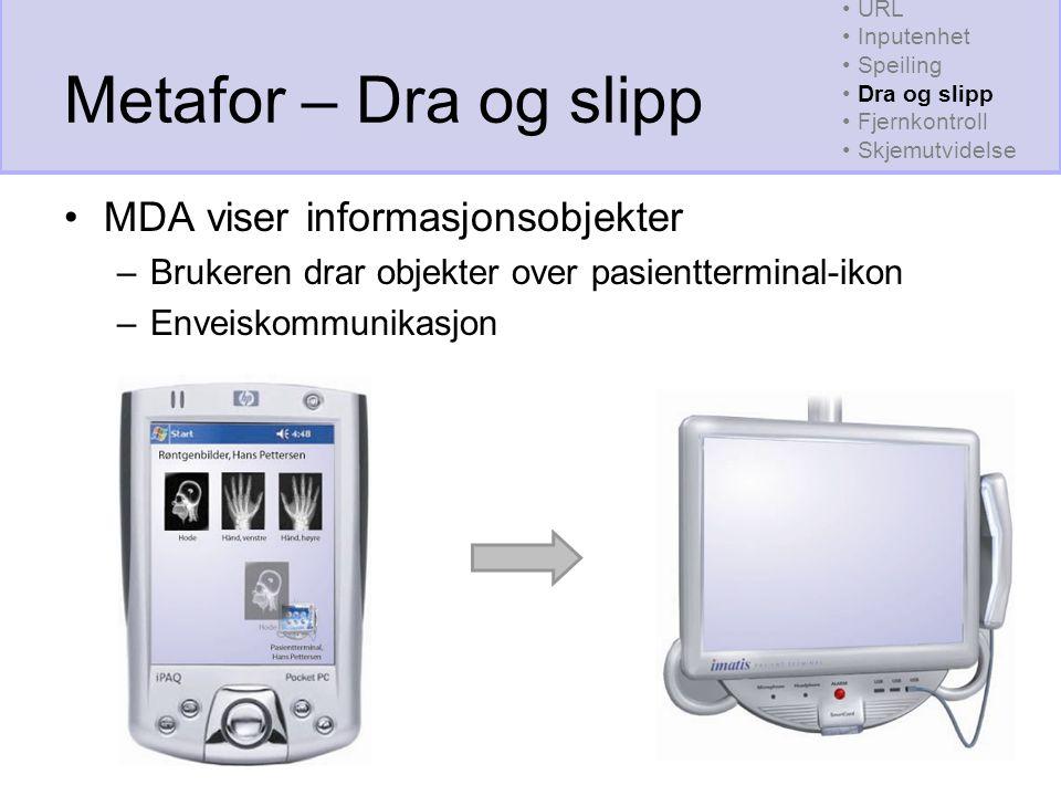 Metafor – Dra og slipp MDA viser informasjonsobjekter –Brukeren drar objekter over pasientterminal-ikon –Enveiskommunikasjon URL Inputenhet Speiling Dra og slipp Fjernkontroll Skjemutvidelse
