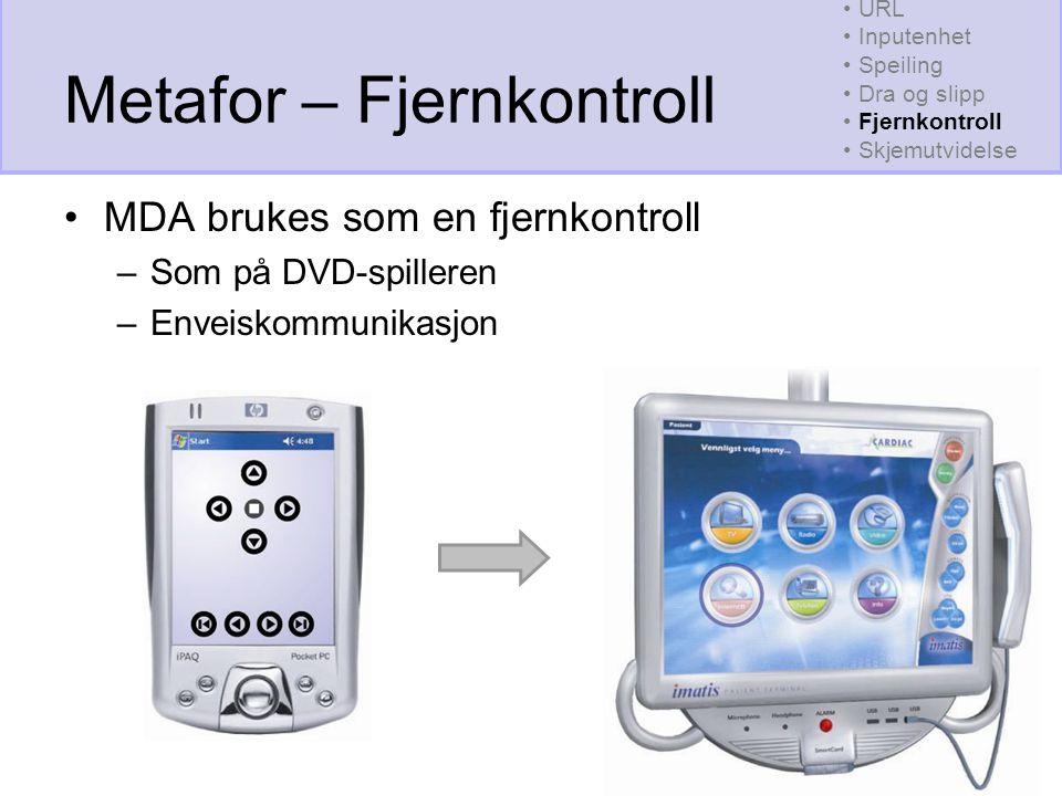 Metafor – Fjernkontroll MDA brukes som en fjernkontroll –Som på DVD-spilleren –Enveiskommunikasjon URL Inputenhet Speiling Dra og slipp Fjernkontroll Skjemutvidelse