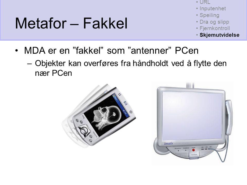 Metafor – Fakkel MDA er en fakkel som antenner PCen –Objekter kan overføres fra håndholdt ved å flytte den nær PCen URL Inputenhet Speiling Dra og slipp Fjernkontroll Skjemutvidelse