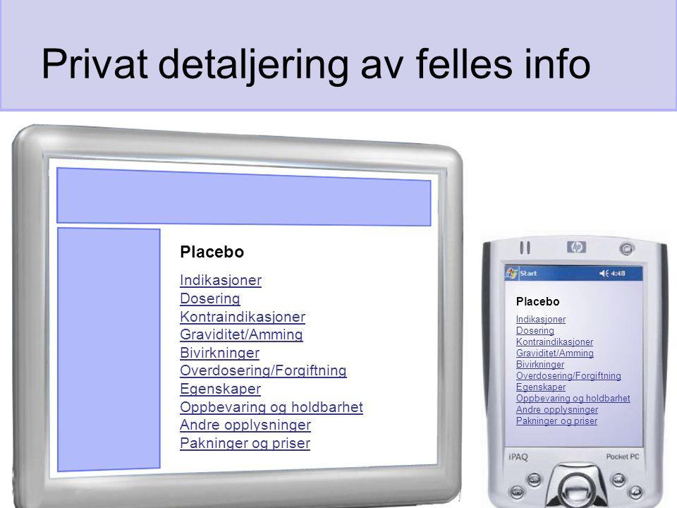 Privat detaljering av felles info Placebo Indikasjoner Dosering Kontraindikasjoner Graviditet/Amming Bivirkninger Overdosering/Forgiftning Egenskaper Oppbevaring og holdbarhet Andre opplysninger Pakninger og priser Placebo Indikasjoner Dosering Kontraindikasjoner Graviditet/Amming Bivirkninger Overdosering/Forgiftning Egenskaper Oppbevaring og holdbarhet Andre opplysninger Pakninger og priser