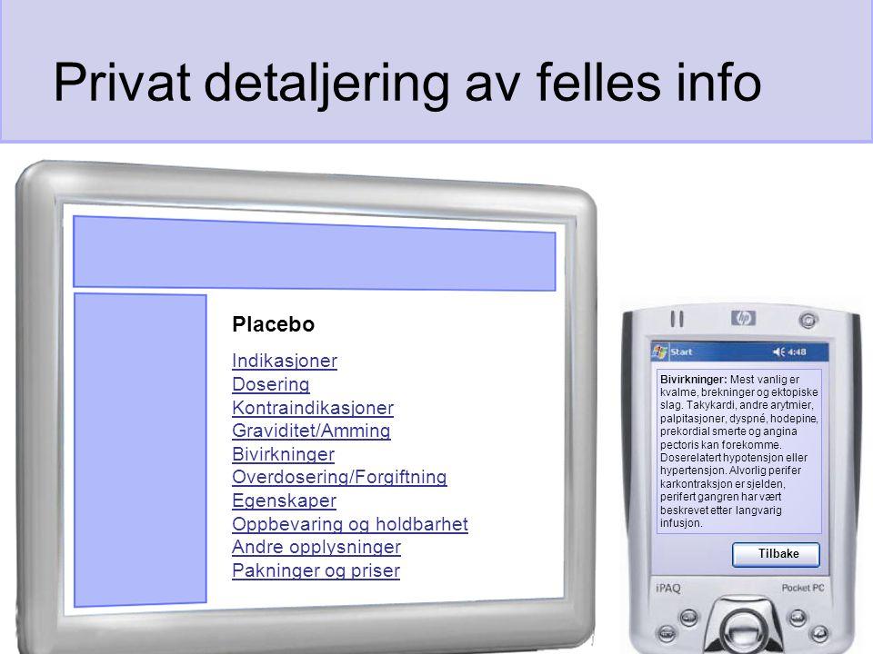 Privat detaljering av felles info Bivirkninger: Mest vanlig er kvalme, brekninger og ektopiske slag.
