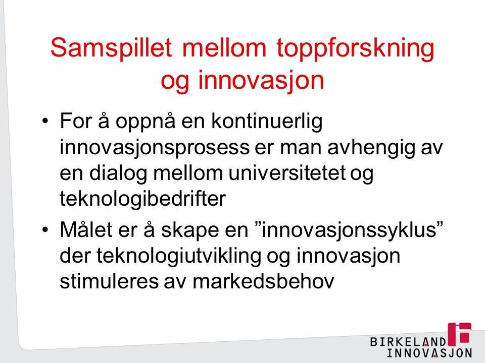 Samspillet mellom toppforskning og innovasjon For å oppnå en kontinuerlig innovasjonsprosess er man avhengig av en dialog mellom universitetet og teknologibedrifter Målet er å skape en innovasjonssyklus der teknologiutvikling og innovasjon stimuleres av markedsbehov