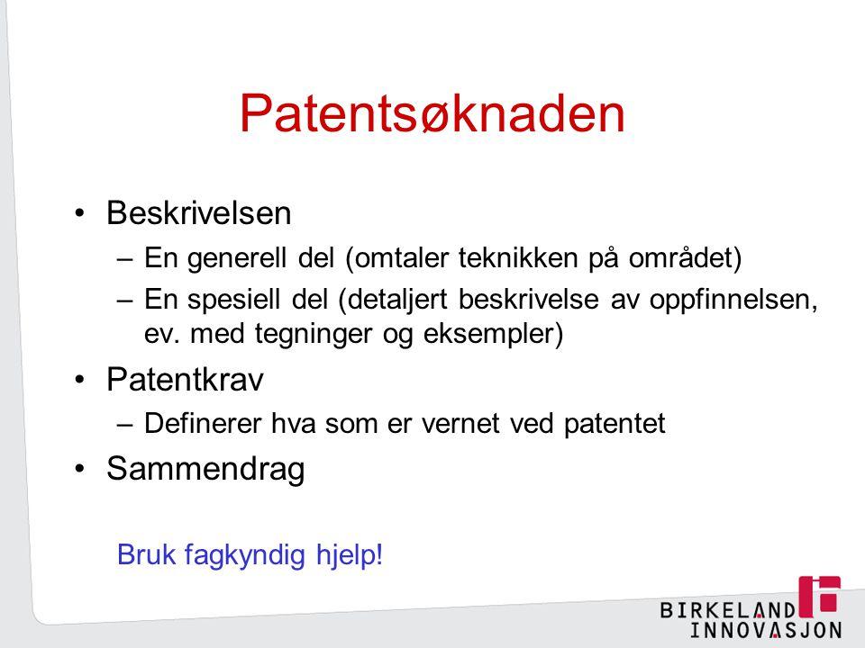 Patentsøknaden Beskrivelsen –En generell del (omtaler teknikken på området) –En spesiell del (detaljert beskrivelse av oppfinnelsen, ev.