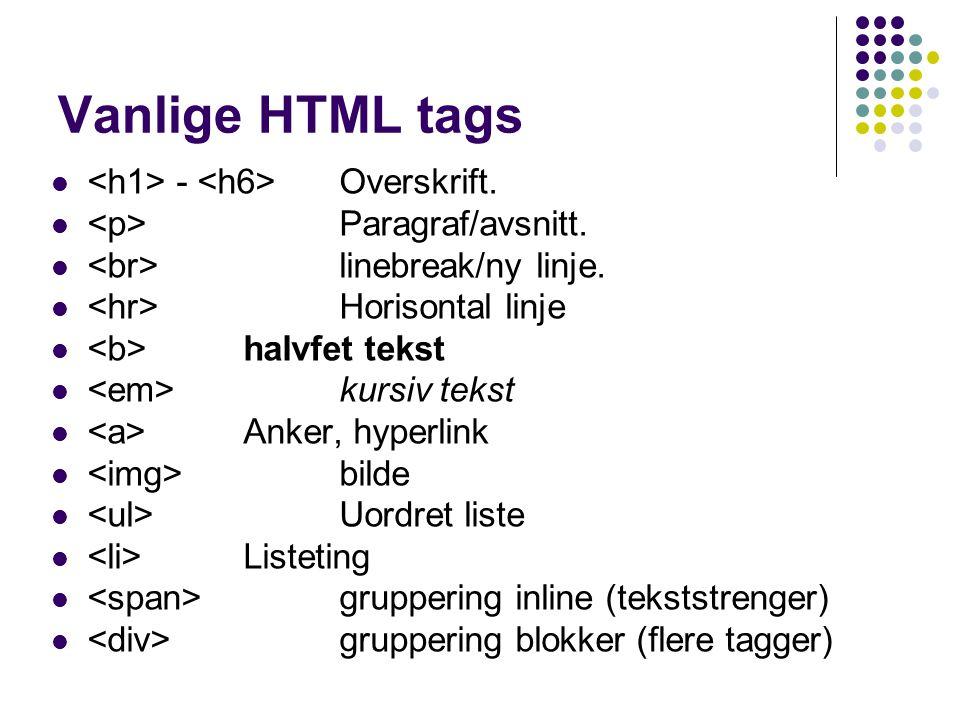 Vanlige HTML tags - Overskrift. Paragraf/avsnitt. linebreak/ny linje. Horisontal linje halvfet tekst kursiv tekst Anker, hyperlink bilde Uordret liste