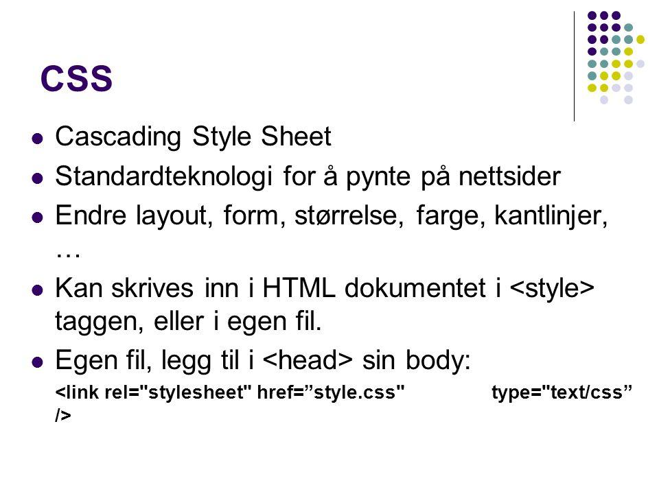 CSS Cascading Style Sheet Standardteknologi for å pynte på nettsider Endre layout, form, størrelse, farge, kantlinjer, … Kan skrives inn i HTML dokumentet i taggen, eller i egen fil.