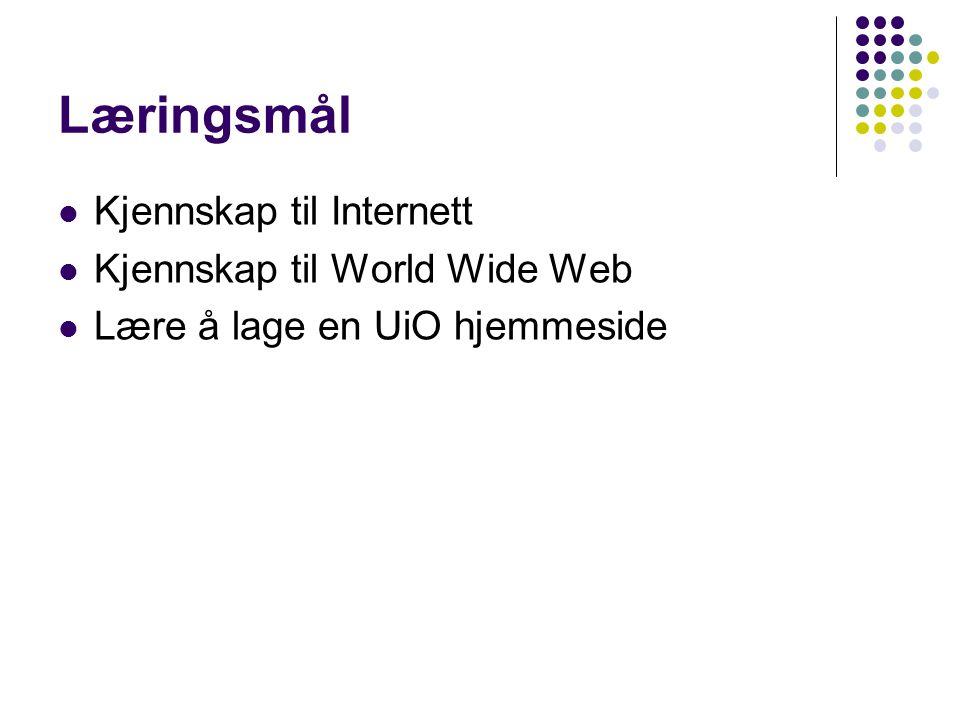 Læringsmål Kjennskap til Internett Kjennskap til World Wide Web Lære å lage en UiO hjemmeside