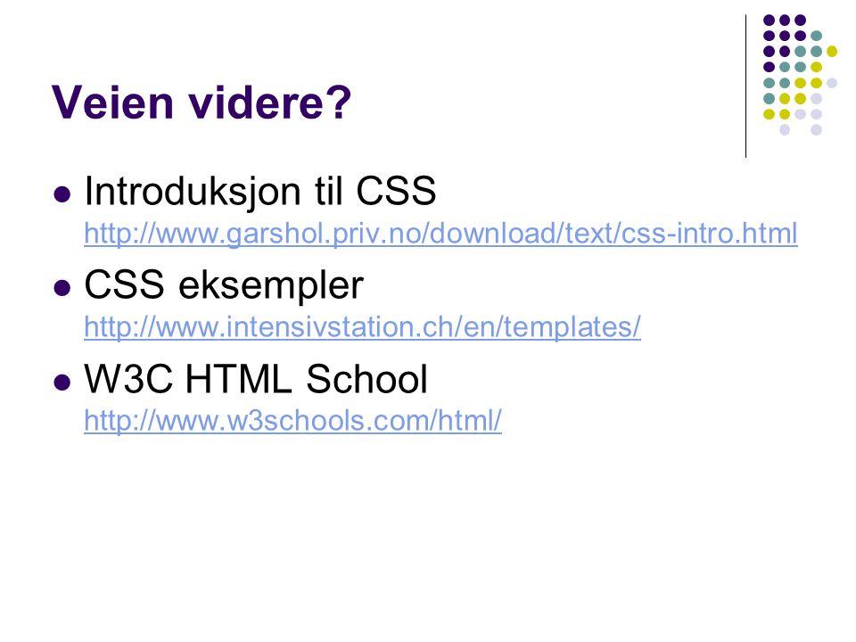 Veien videre? Introduksjon til CSS http://www.garshol.priv.no/download/text/css-intro.html http://www.garshol.priv.no/download/text/css-intro.html CSS