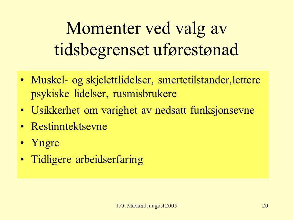 J.G. Mæland, august 200520 Momenter ved valg av tidsbegrenset uførestønad Muskel- og skjelettlidelser, smertetilstander,lettere psykiske lidelser, rus