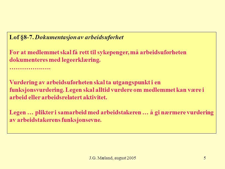 5 Lof §8-7. Dokumentasjon av arbeidsuførhet For at medlemmet skal få rett til sykepenger, må arbeidsuførheten dokumenteres med legeerklæring. …………….….