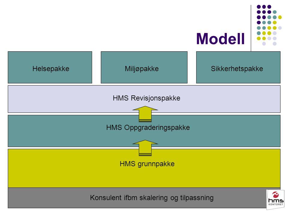 Modell HMS grunnpakke HelsepakkeSikkerhetspakkeMiljøpakke Konsulent ifbm skalering og tilpassning HMS Oppgraderingspakke HMS Revisjonspakke