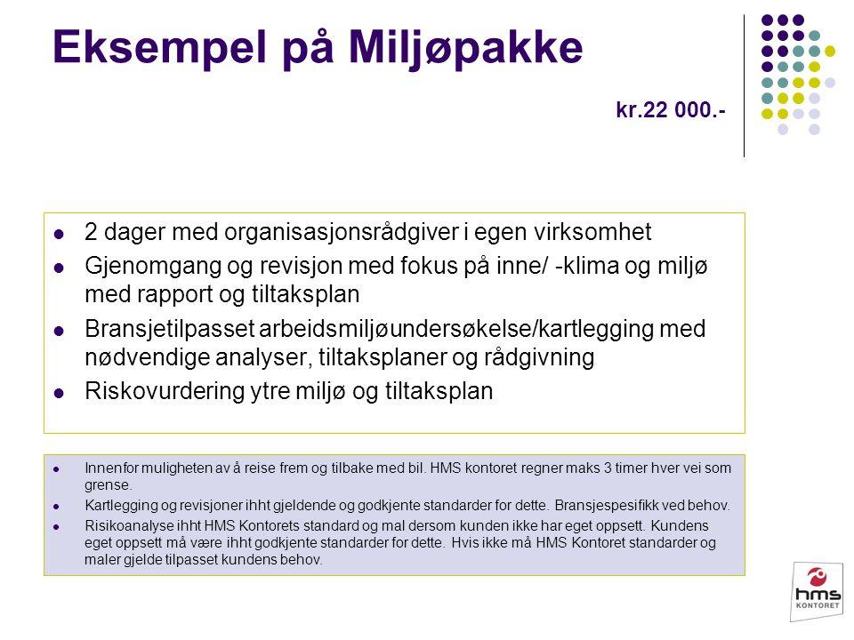Eksempel på Miljøpakke kr.22 000.- 2 dager med organisasjonsrådgiver i egen virksomhet Gjenomgang og revisjon med fokus på inne/ -klima og miljø med r