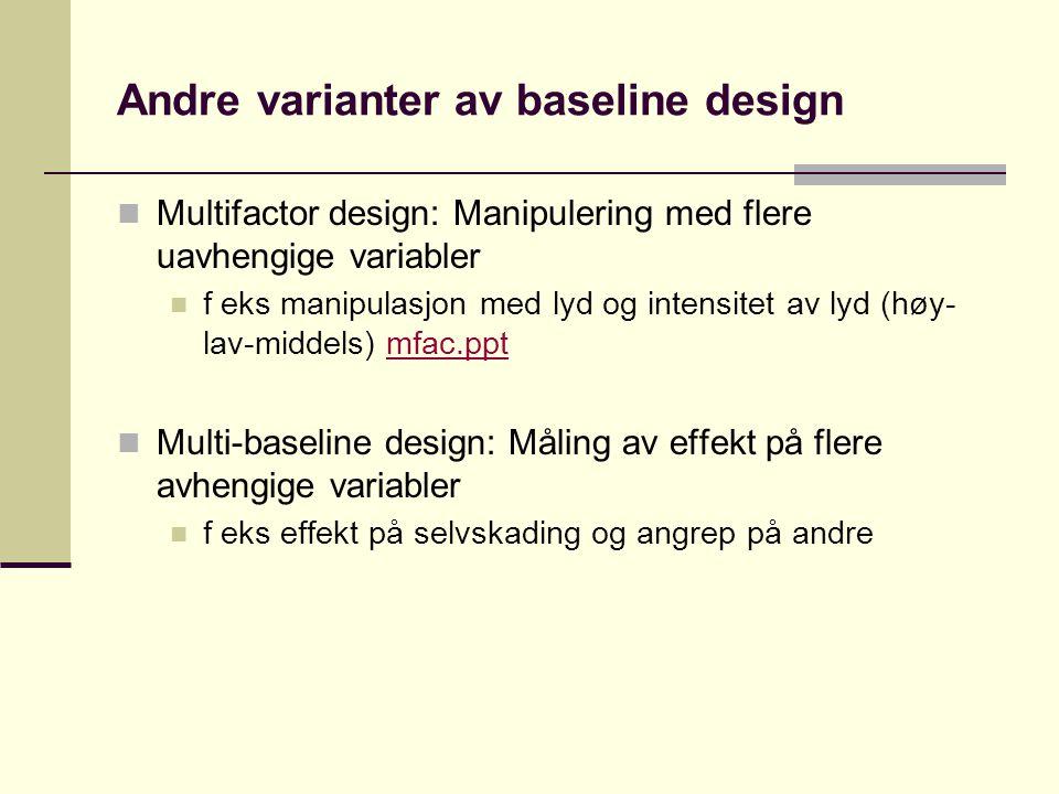 Dynamisk design Ligner på baseline design, men treatment (intervensjonen) endres gradvis, ikke bare enten eller Sjelden brukt i psykologisk forskning