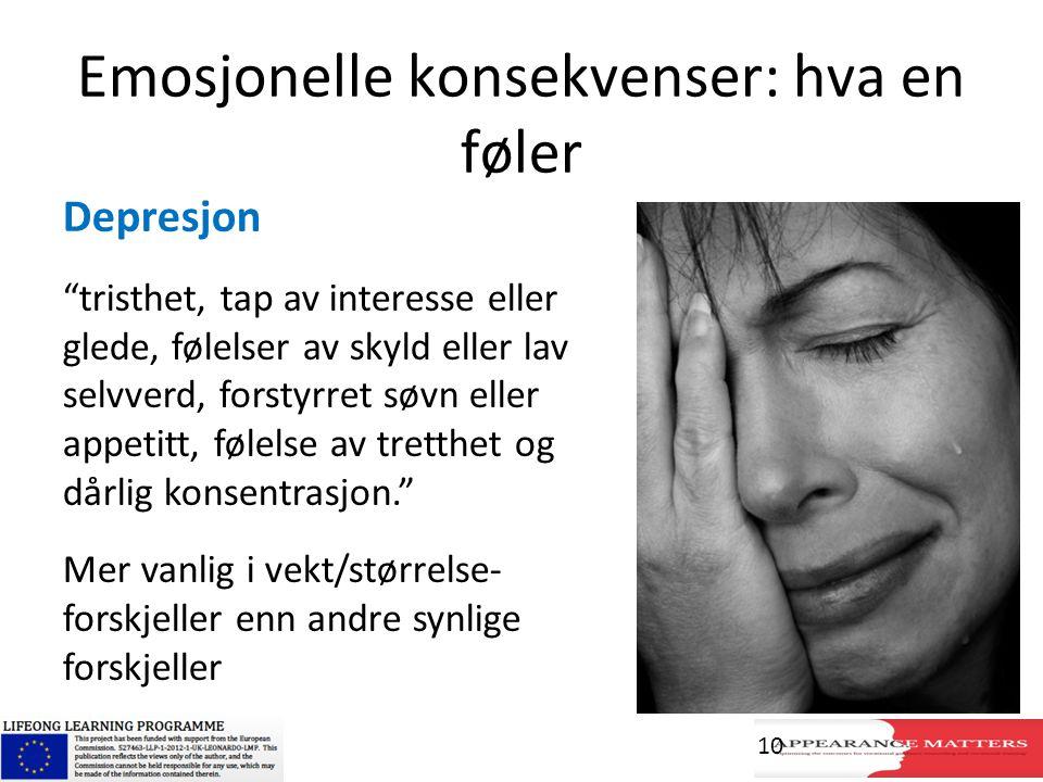 """Emosjonelle konsekvenser: hva en føler Depresjon """"tristhet, tap av interesse eller glede, følelser av skyld eller lav selvverd, forstyrret søvn eller"""