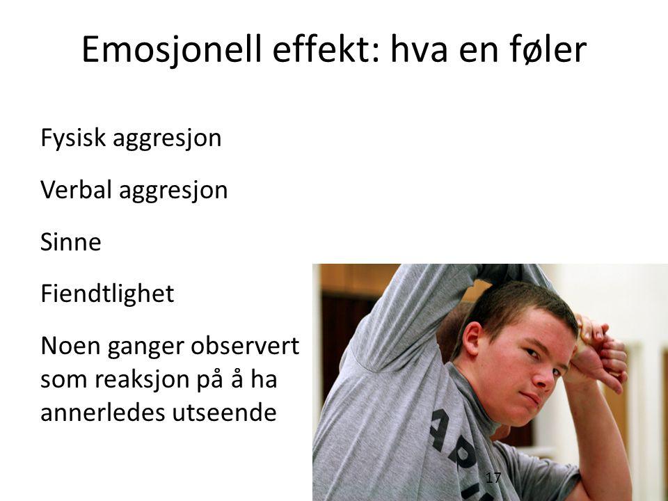 Emosjonell effekt: hva en føler Fysisk aggresjon Verbal aggresjon Sinne Fiendtlighet Noen ganger observert som reaksjon på å ha annerledes utseende 17