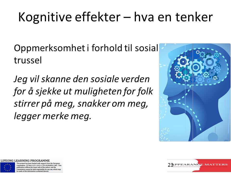 Kognitive effekter – hva en tenker Oppmerksomhet i forhold til sosial trussel Jeg vil skanne den sosiale verden for å sjekke ut muligheten for folk st